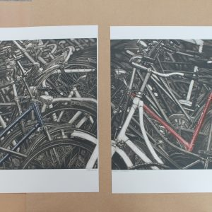 Grabado bici diptico Láminas mamagraf ritasmile bcn decoración