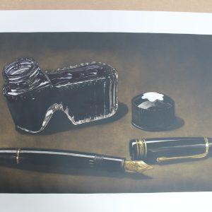 Grabado tinta y pluma. Láminas mamagraf ritasmile bcn decoración