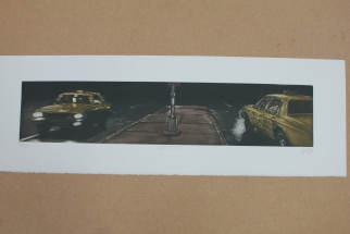 Grabado dos taxis, Ramiro Undabeytia Láminas mamagraf ritasmile bcn decoración
